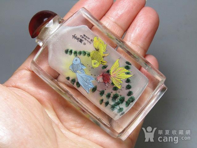 清带款手绘 金鱼图 琉璃 鼻烟壶 包浆老厚图5