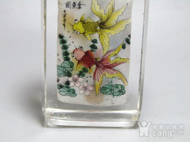 清带款手绘 金鱼图 琉璃 鼻烟壶 包浆老厚图8