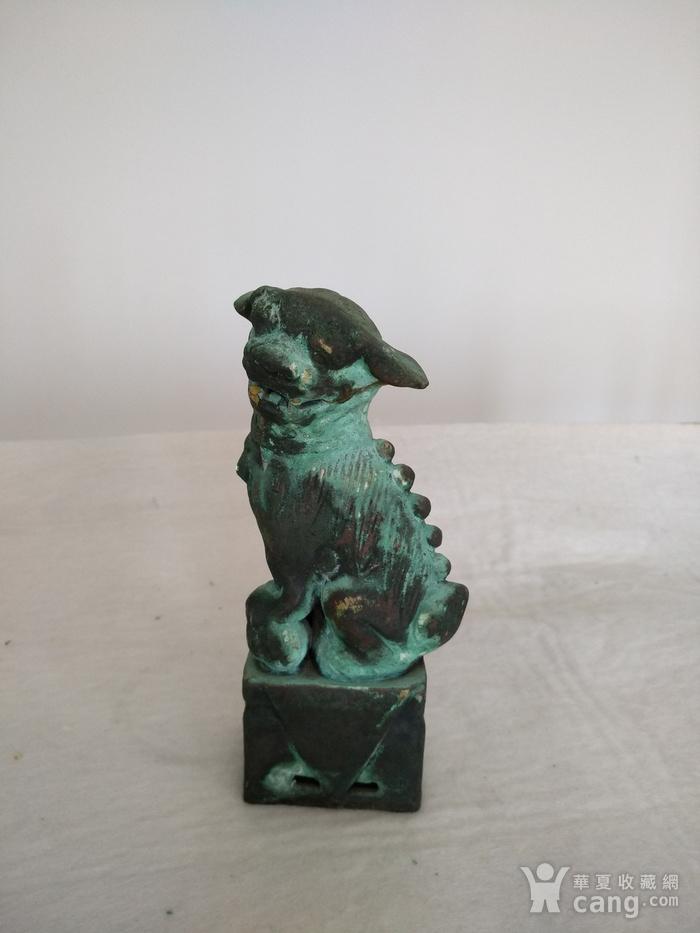 清早瓷胎铜釉仿生坐狮,高:16.8Cm图1