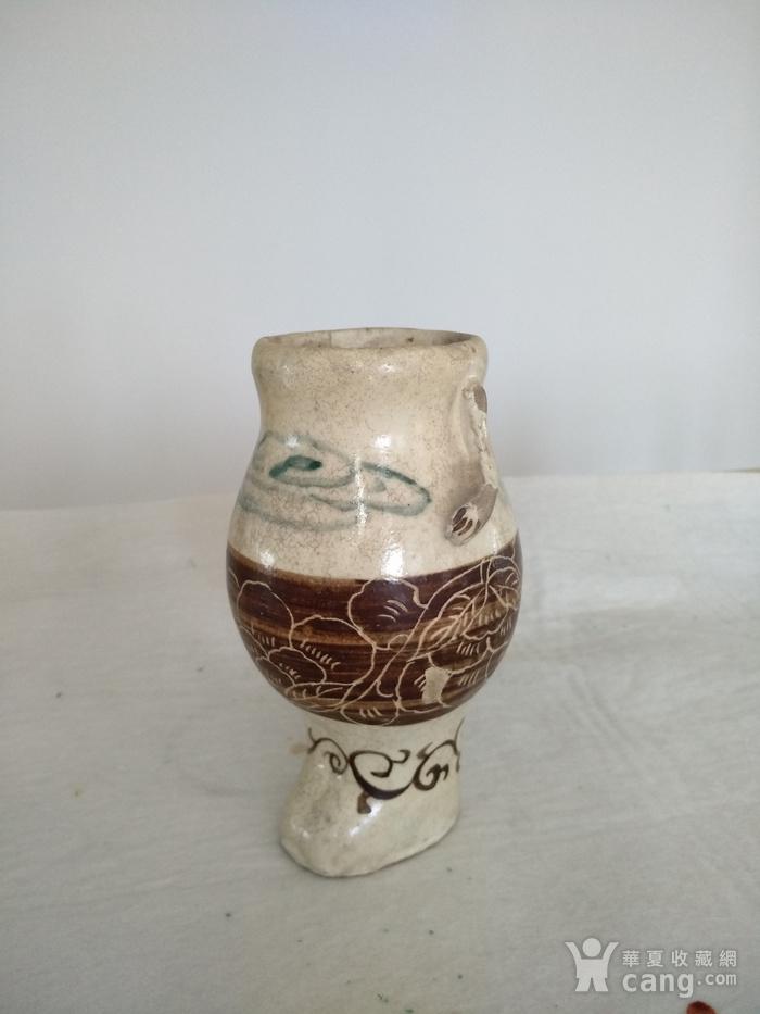 珍稀。宋磁州窑釉下绿彩 刻花 釉上褐彩瓶。高17.5Cm。图1