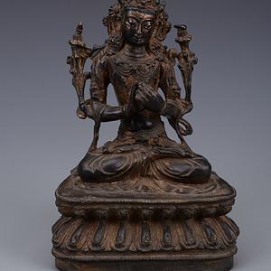 欧洲回流铜镏漆金佛像