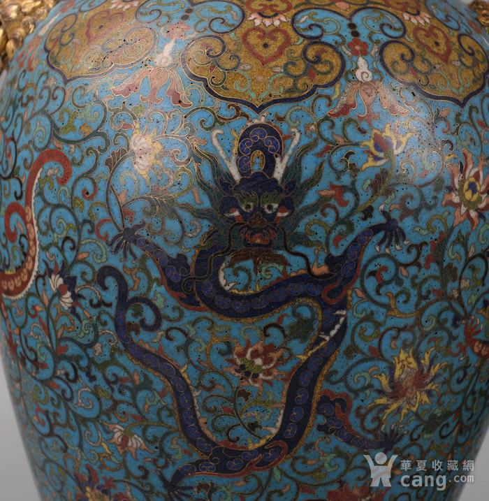 欧洲回流掐丝珐琅龙纹大花瓶图2