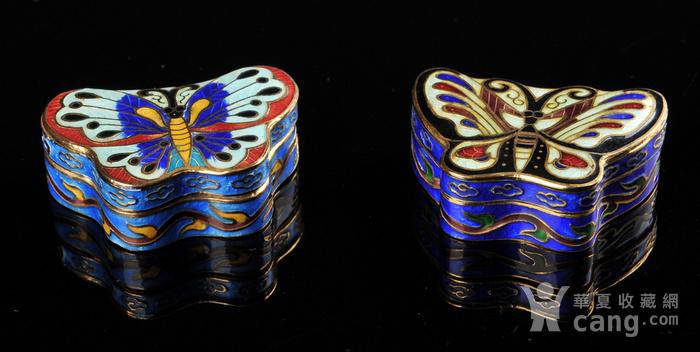 欧美回流 精美景泰蓝蝴蝶形小盖盒一对图5