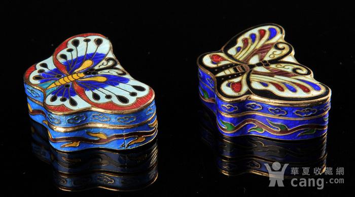 欧美回流 精美景泰蓝蝴蝶形小盖盒一对图7