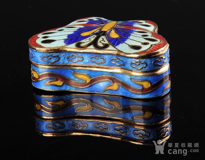 欧美回流 精美景泰蓝蝴蝶形小盖盒一对图3