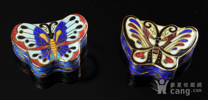 欧美回流 精美景泰蓝蝴蝶形小盖盒一对图6