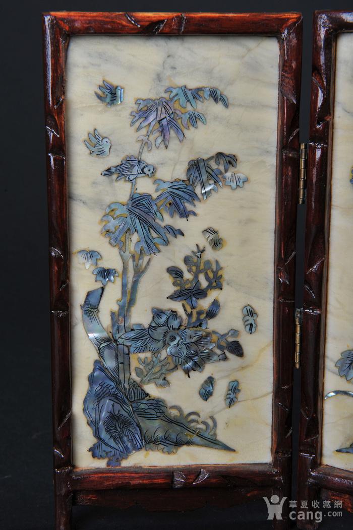 欧美回流 老蛇纹石嵌螺钿花鸟纹四扇小桌屏图2