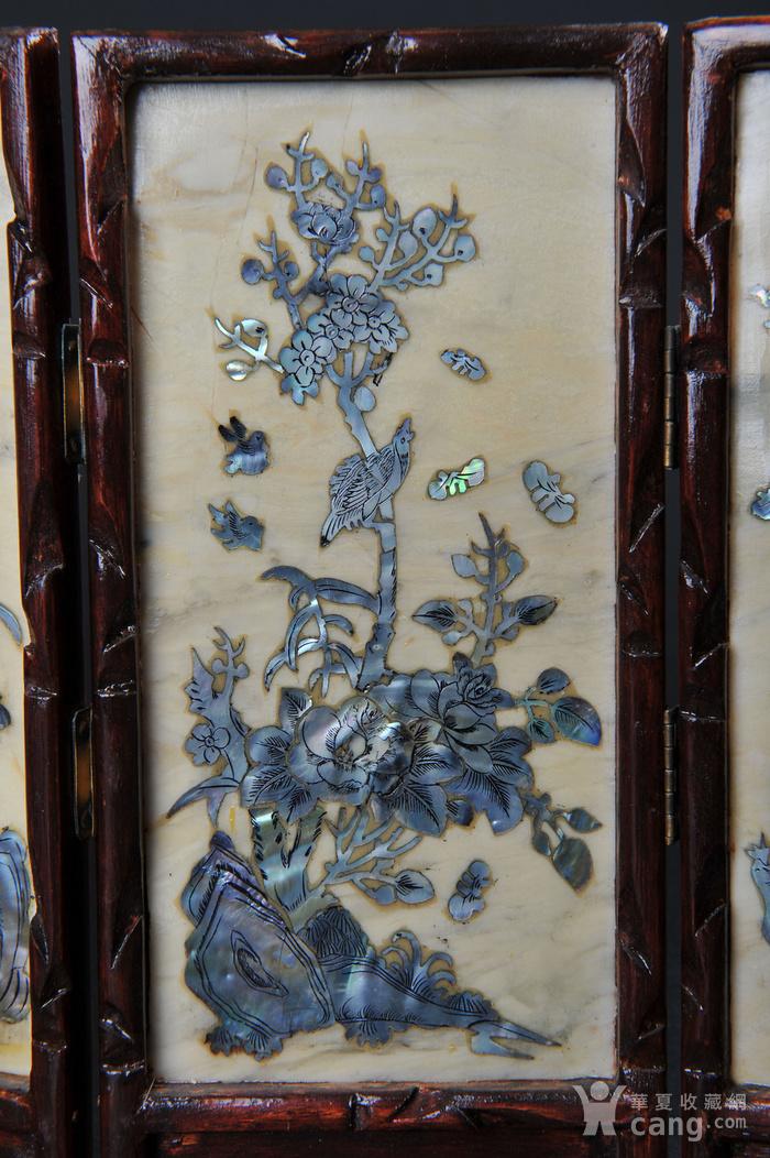 欧美回流 老蛇纹石嵌螺钿花鸟纹四扇小桌屏图4