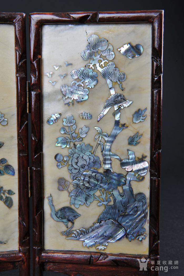 欧美回流 老蛇纹石嵌螺钿花鸟纹四扇小桌屏图5