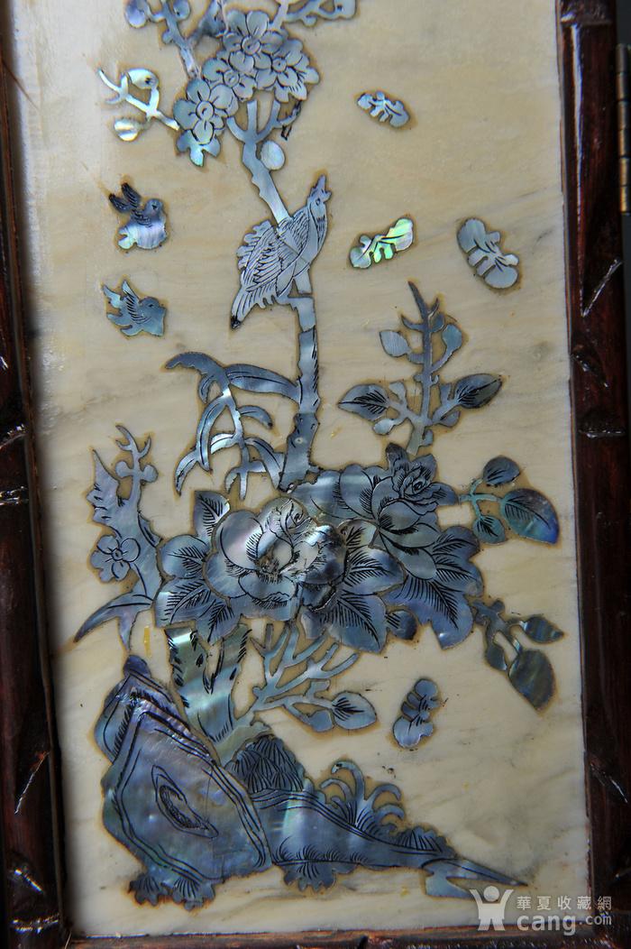 欧美回流 老蛇纹石嵌螺钿花鸟纹四扇小桌屏图6