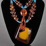 欧美回流 漂亮金包蜜大吊坠琥珀松石项链