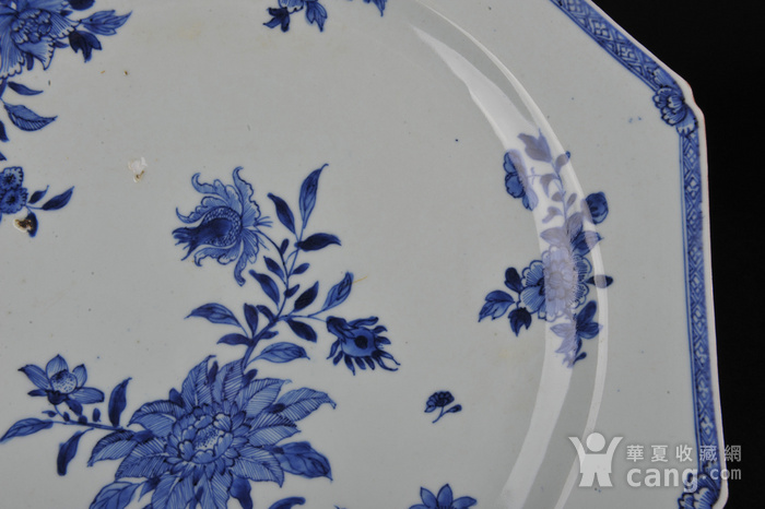 欧美回流 清中期 青花折枝花卉八棱大盘图4