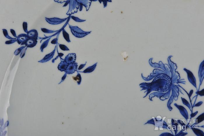 欧美回流 清中期 青花折枝花卉八棱大盘图5