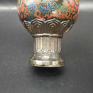 仿铜胎珐琅彩长颈瓶 一对
