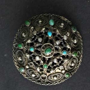 8107欧洲回流嵌绿松珍珠圆胸针