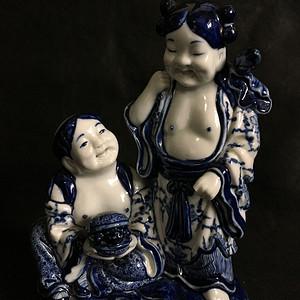 清民和合二仙精品青花瓷像