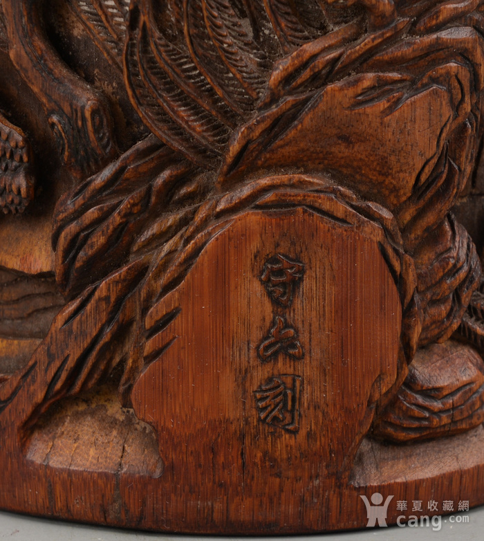 欧洲回流竹雕刻人物笔筒 守六刻 图4