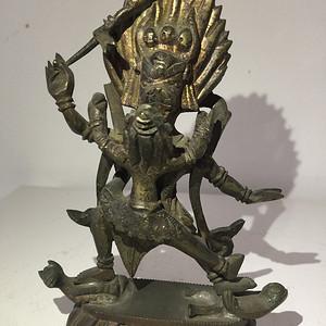清代铜雕藏传佛教降阎魔尊