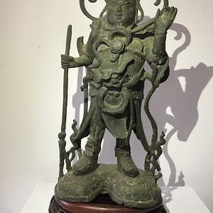 明代关公铜雕武将装造像