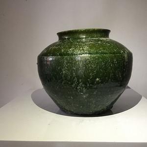 高古玻璃绿釉罐