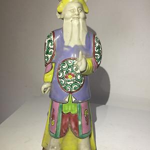 清代五彩瓷雕武将