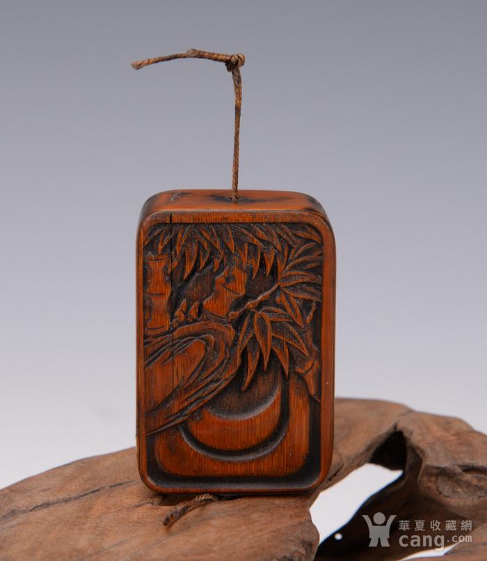 欧洲回流竹雕诗纹盒子图1