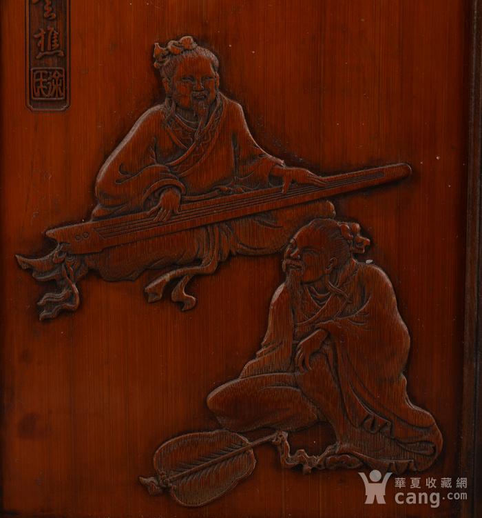 欧洲回流竹簧镶嵌竹子人物插屏图2