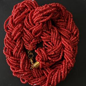 8134欧洲回流多股编织珊瑚项链