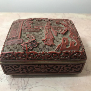 9032 剔红人物方盒