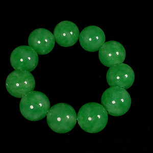 缅甸满绿翡翠大圆珠手链