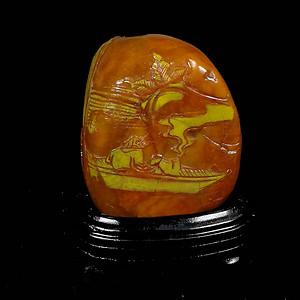 寿山石薄意浮雕《乘舟访友》摆件石质温润萝卜纹隐隐可见送盒子