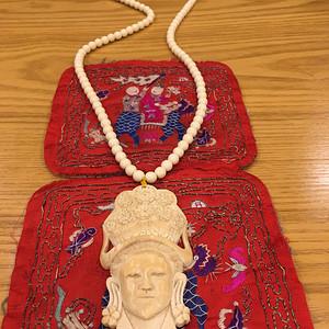 民国自然材质雕贵妇人精品大挂件