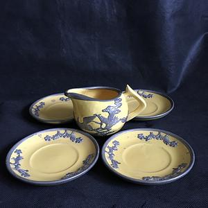 一套清末柠檬黄嵌锡老茶具
