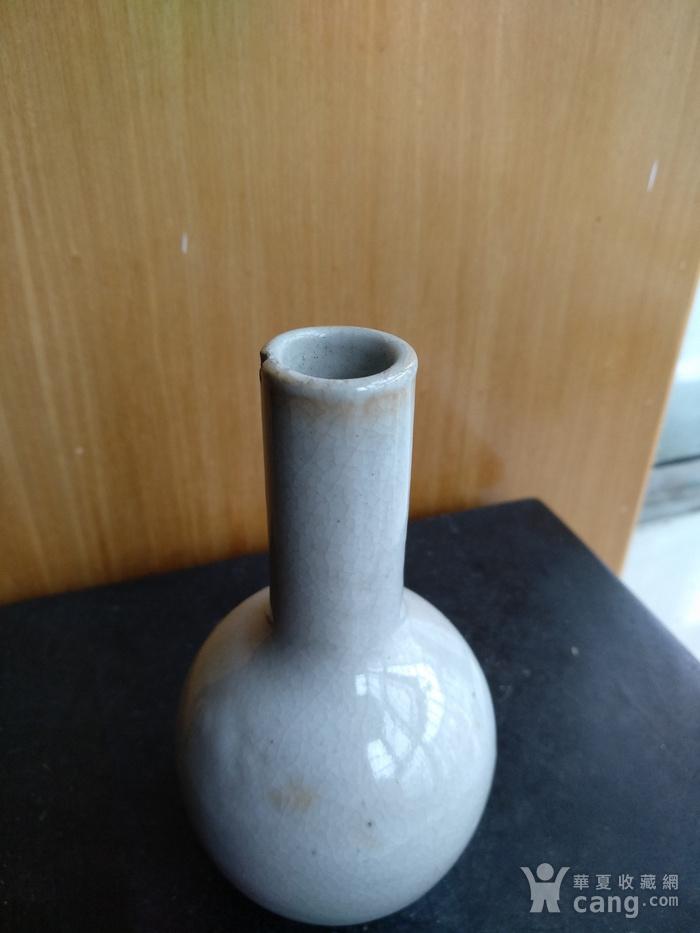 清代哥釉天球瓶,高:11.5Cm文房佳器图7