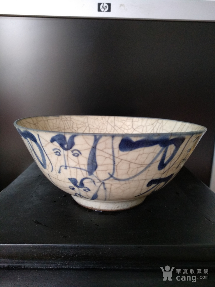明 清青花哥釉碗,纹饰稀有图3