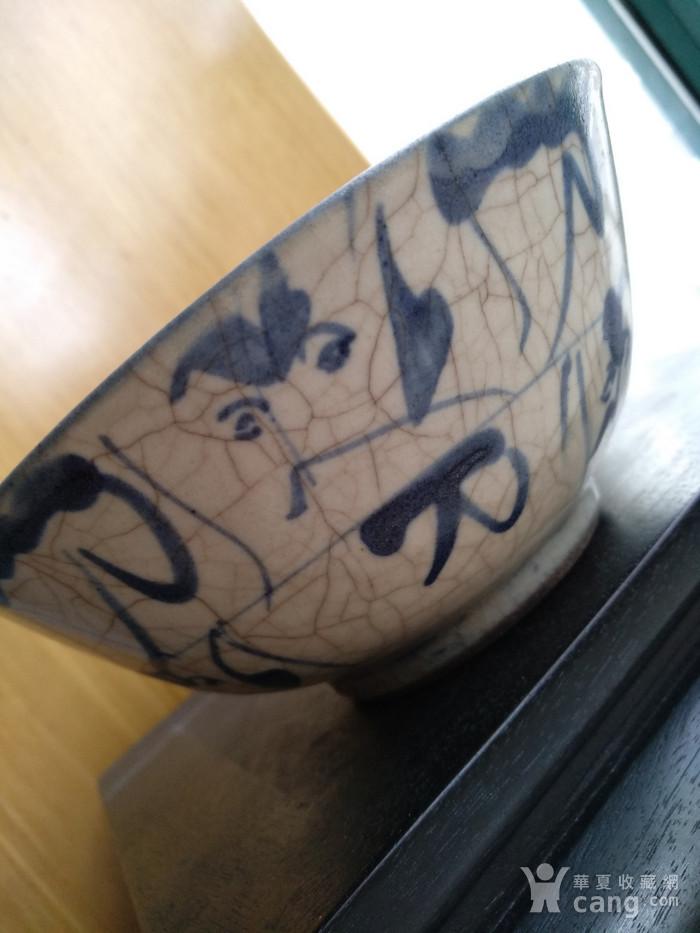 明 清青花哥釉碗,纹饰稀有图5