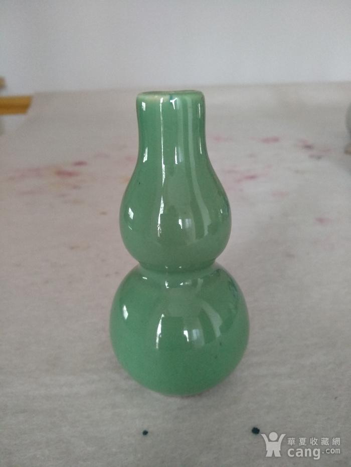 清代绿釉葫芦瓶。高10.3Cm,精美!图1