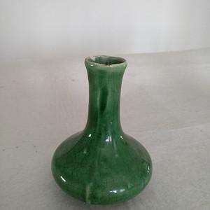 清代绿釉天球瓶,高:11Cm