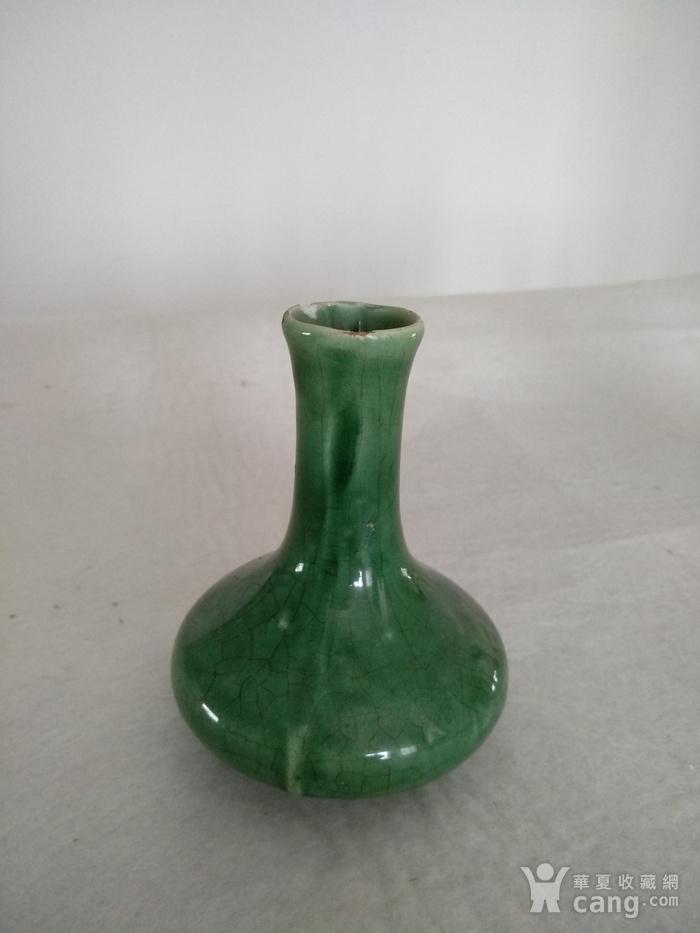 清代绿釉天球瓶,高:11Cm图1