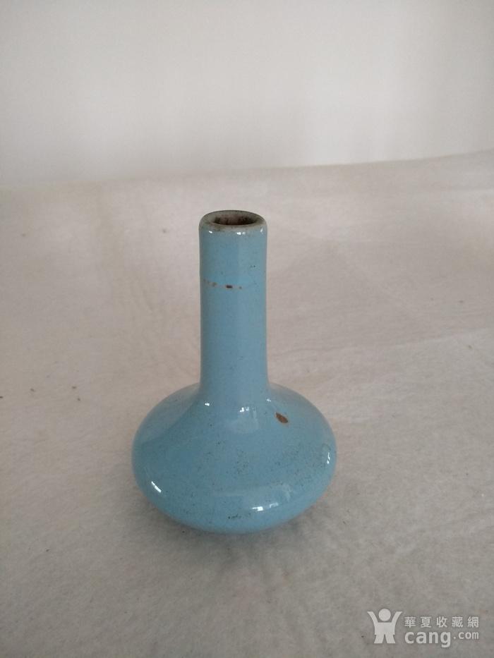 清仿汝釉天球瓶,高:11Cm图1