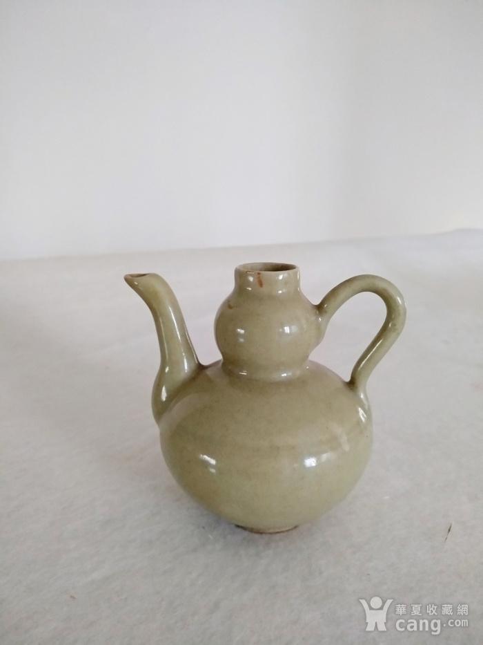 明晚豆青釉葫芦型酒壶,高8.3Cm图1