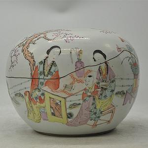 人物粉彩老瓷罐