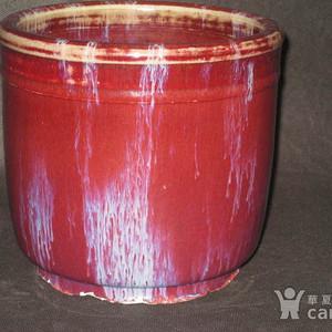 清中期窑变釉精品筒式大香炉