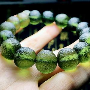 天外来物!捷克进口纯天然陨石完美全通透玻璃体满绿原石圆珠手串