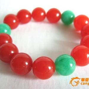 柿子红玛瑙配翠珠手串