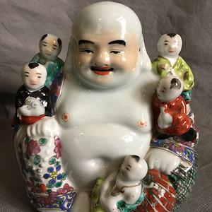 清末精品五子登科瓷佛像