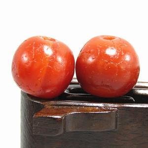 唐 红玛瑙 珠 一对 包浆醇厚