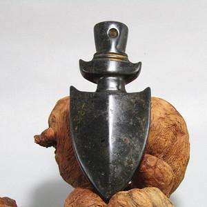 晚清 和田墨碧玉 剑形 挂件 造型古朴 玉质熟润