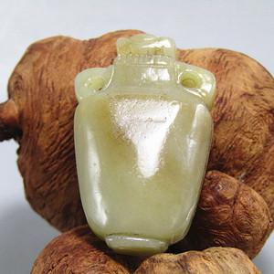 清 和田玉挂糖色 宝瓶 挂件 包浆醇厚