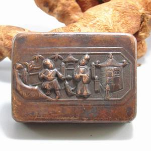 清 带款 老紫铜 打造 人物墨盒 包浆厚重